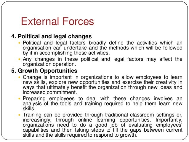 External Forces4. Political and legal changes   Political and legal factors broadly define the activities which an    org...