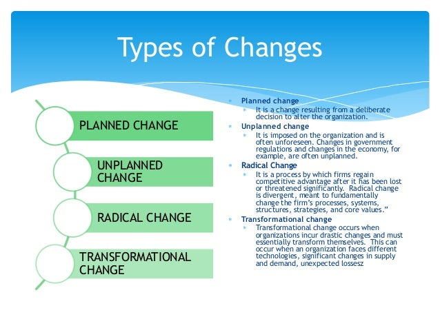 differentiate between planned and unplanned change  the difference between transitional and transformational change  may be  defined as a planned or unplanned response to pressures and.