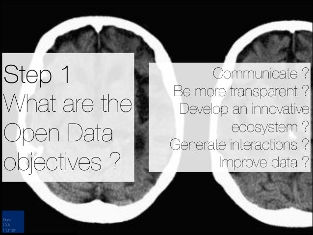 Step 1 What are the Open Data objectives ? Raw Data Hunter  Communicate ? Be more transparent ? Develop an innovative ecos...