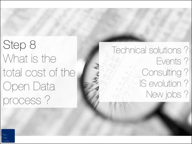 Step 8 What is the total cost of the Open Data process ? Raw Data Hunter  Technical solutions ? Events ? Consulting ? IS e...