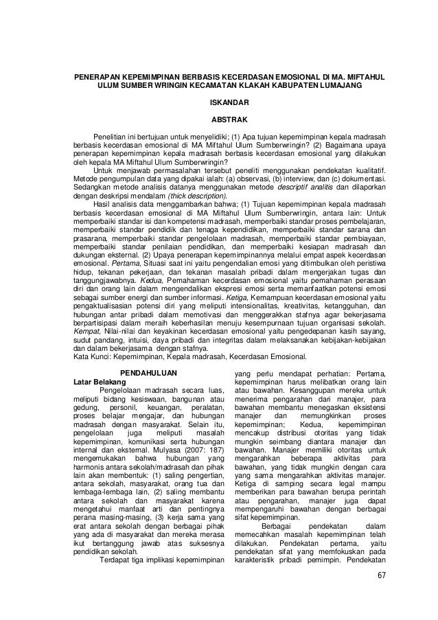 67 PENERAPAN KEPEMIMPINAN BERBASIS KECERDASAN EMOSIONAL DI MA. MIFTAHUL ULUM SUMBER WRINGIN KECAMATAN KLAKAH KABUPATEN LUM...