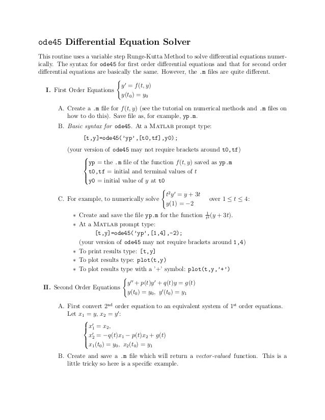 Ode45 Matlab Example
