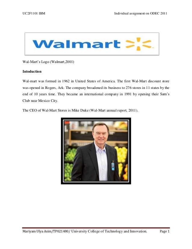 "UC2F1101 IBM                                               Individual assignment on ODEC 2011Wal-Mart""s Logo (Walmart,2001..."