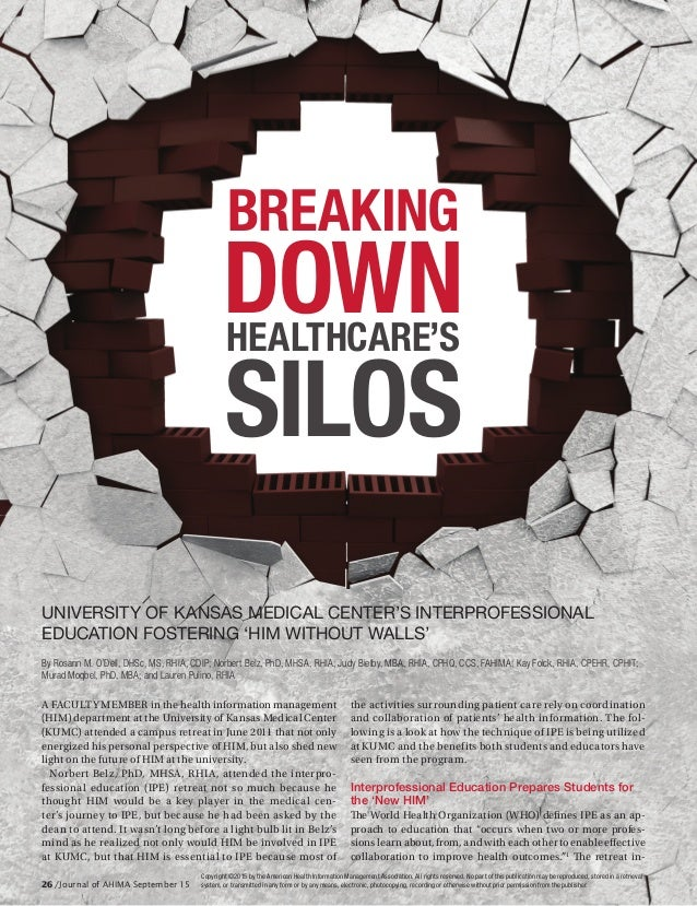 BREAKING DOWNHEALTHCARE'S SILOS A FACULTY MEMBER in the health information management (HIM) department at the University o...