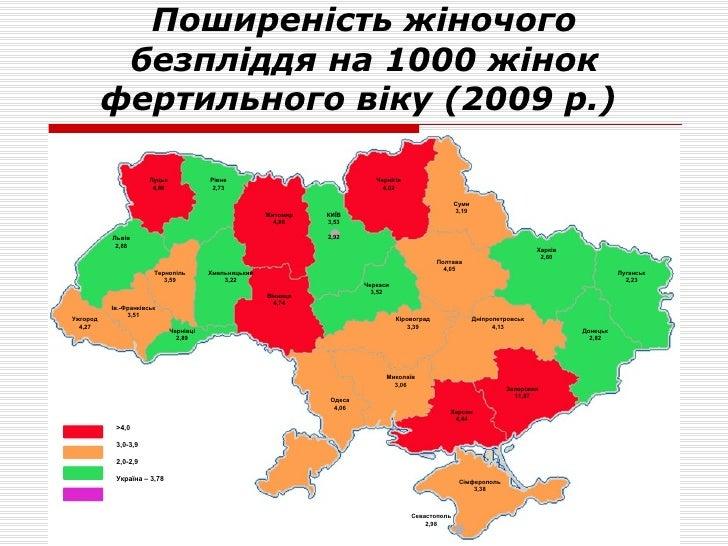 Поширеність  ж іночого  безпліддя на 1000 жінок  фертильного віку   (2009 р.)   Луцьк 4,86 Рівне 2,73 Житомир 4,86 Чернігі...
