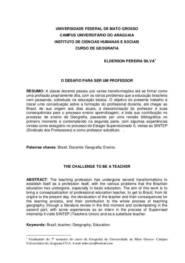 UNIVERSIDADE FEDERAL DE MATO GROSSO CAMPUS UNIVERSITÁRIO DO ARAGUAIA INSTITUTO DE CIENCIAS HUMANAS E SOCIAIS CURSO DE GEOG...