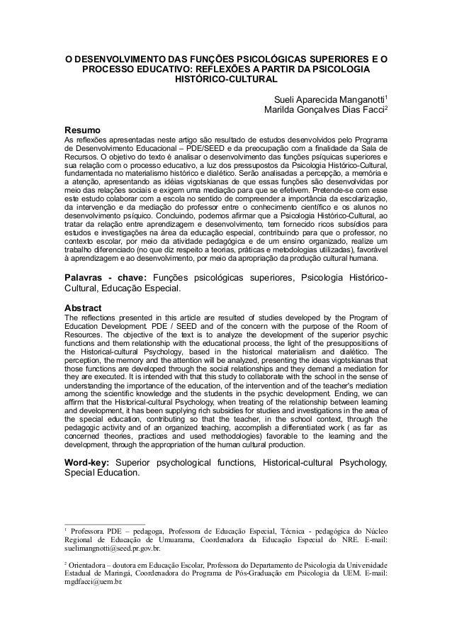 O DESENVOLVIMENTO DAS FUNÇÕES PSICOLÓGICAS SUPERIORES E O   PROCESSO EDUCATIVO: REFLEXÕES A PARTIR DA PSICOLOGIA          ...