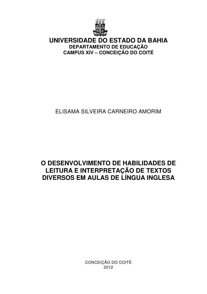 0  UNIVERSIDADE DO ESTADO DA BAHIA       DEPARTAMENTO DE EDUCAÇÃO     CAMPUS XIV – CONCEIÇÃO DO COITÉ   ELISAMA SILVEIRA C...
