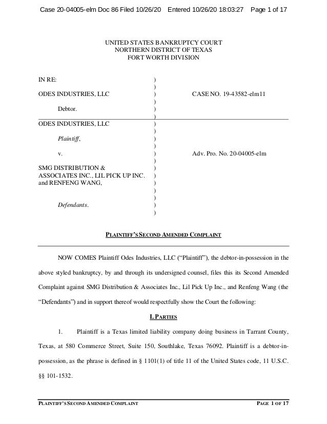 PLAINTIFF'S SECOND AMENDED COMPLAINT PAGE 1 OF 17 UNITED STATES BANKRUPTCY COURT NORTHERN DISTRICT OF TEXAS FORT WORTH DIV...