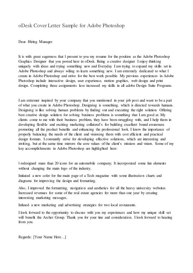 ODesk Cover Letter Sample For Adobe Photoshop Dear Hiring Manager It Is  With Great Eagerness That  How To Write A Cover Letter Samples