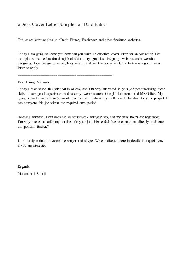 oDesk cover letter sample for data entry