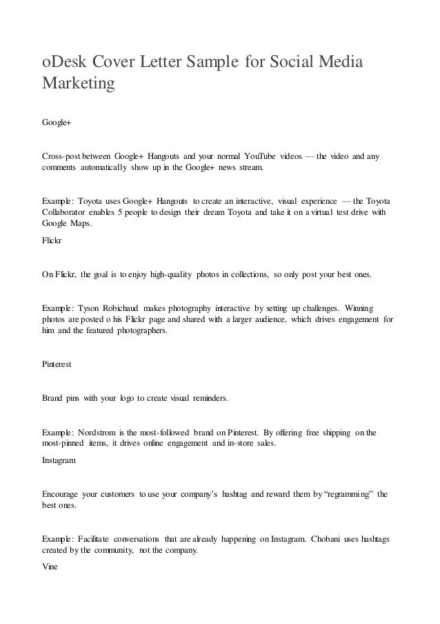 odesk cover letter sample for social media marketing 2 odesk cover letter sample for social media