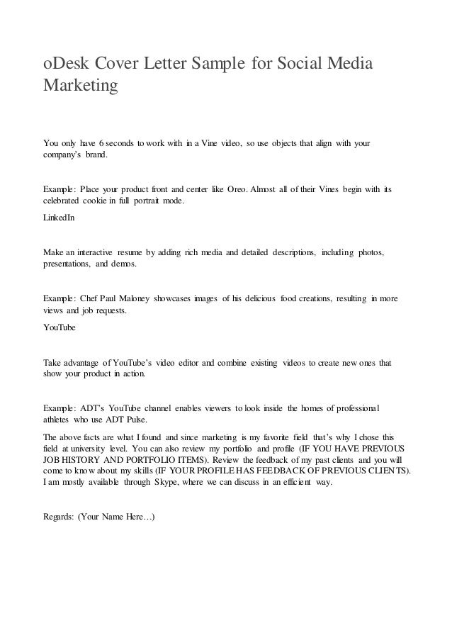 Vine; 3. ODesk Cover Letter Sample For Social Media Marketing ...