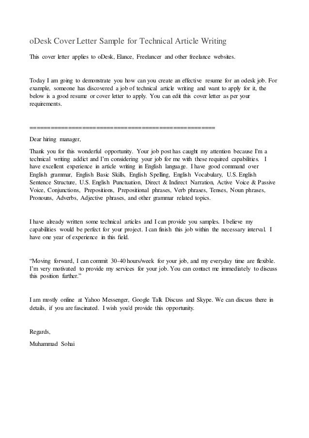 ODesk Cover Letter Sample For Technical Article Writing This Cover Letter  Applies To ODesk, Elance  Resume Writing Articles