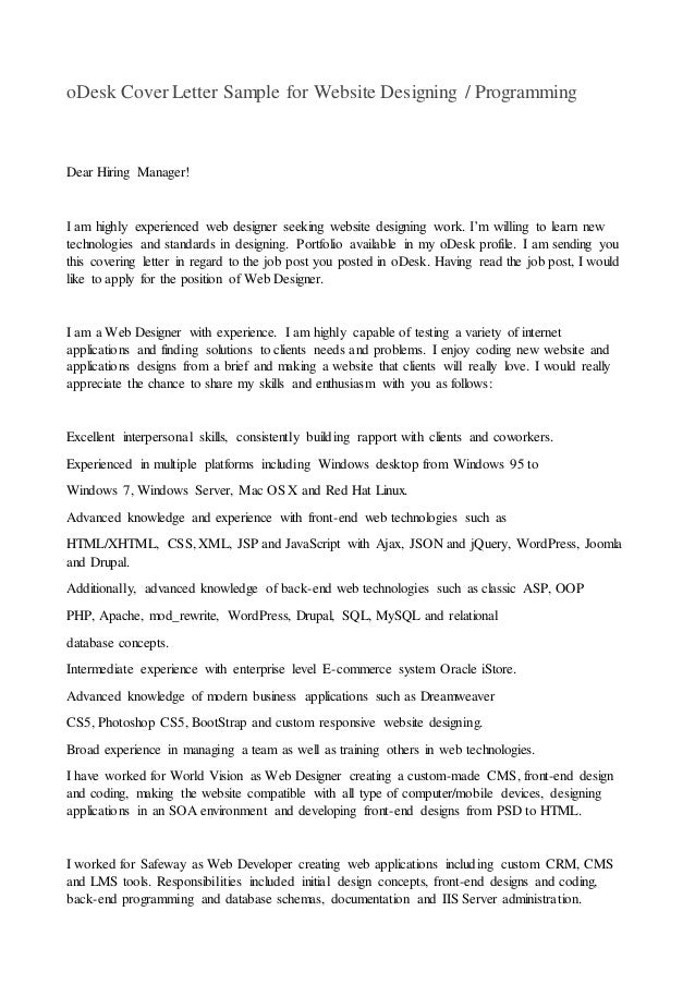 High Quality ODesk Cover Letter Sample For Website Designing / Programming Dear Hiring  Manager!