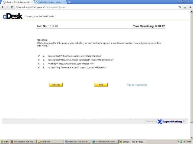 Odesk html Test Questions