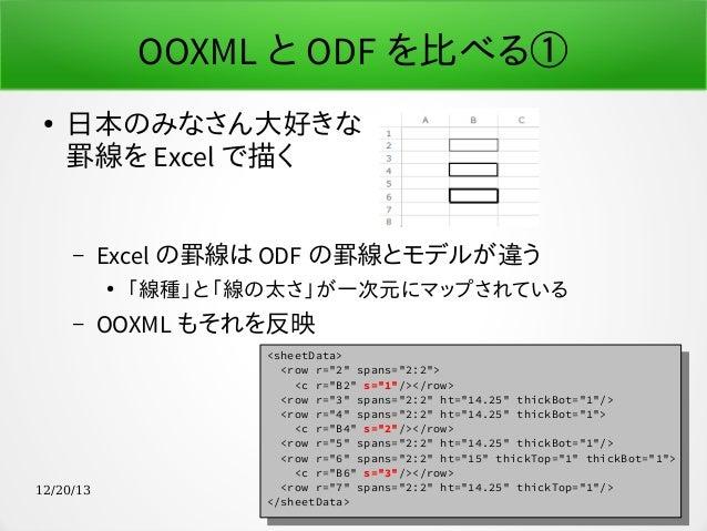 OOXML と ODF を比べる① ●  日本のみなさん大好きな 罫線を Excel で描く –  Excel の罫線は ODF の罫線とモデルが違う ●  –  12/20/13  「線種」と「線の太さ」が一次元にマップされている  OOXM...