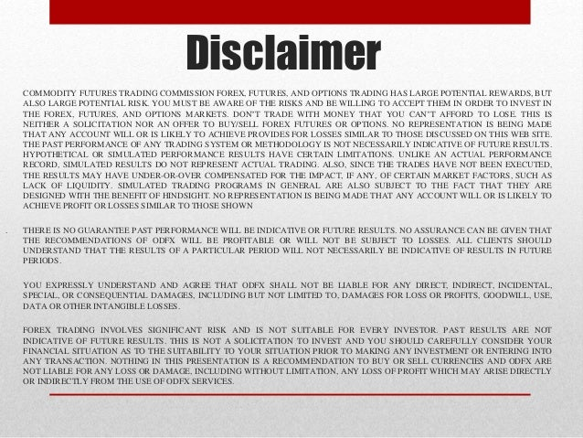 Forex market disclaimer