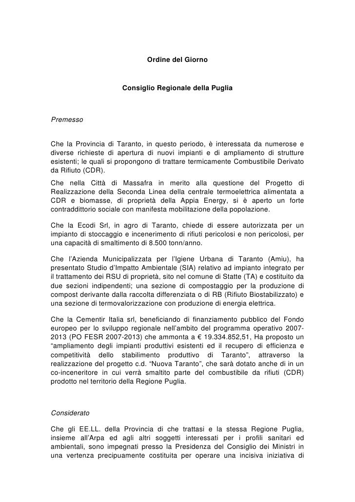 Ordine del Giorno                       Consiglio Regionale della PugliaPremessoChe la Provincia di Taranto, in questo per...