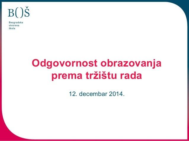 Odgovornost obrazovanja  prema tržištu rada  12. decembar 2014.