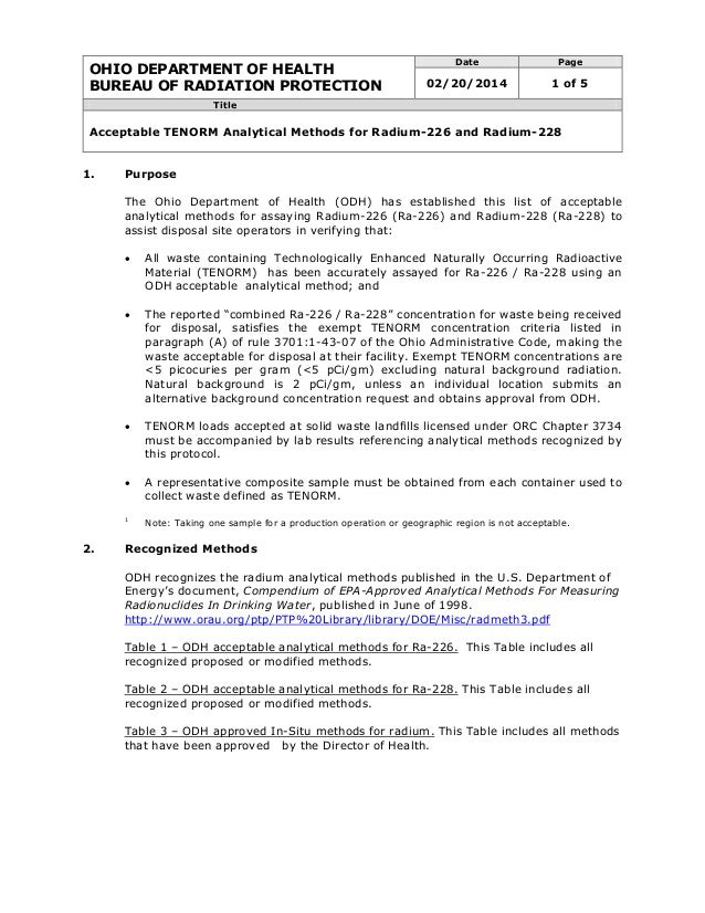 OHIO DEPARTMENT OF HEALTH BUREAU OF RADIATION PROTECTION Date Page 02/20/2014 1 of 5 Title Acceptable TENORM Analytical Me...