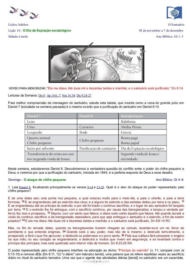 Lições Adultos  O Santuário  Lição 10 - O Dia da Expiação escatológico  30 de novembro a 7 de dezembro  Sábado à tarde  An...