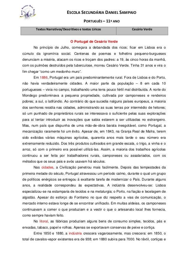 ESCOLA SECUNDÁRIA DANIEL SAMPAIO PORTUGUÊS – 11º ANO O Portugal de Cesário Verde No princípio de Julho, começara a debanda...