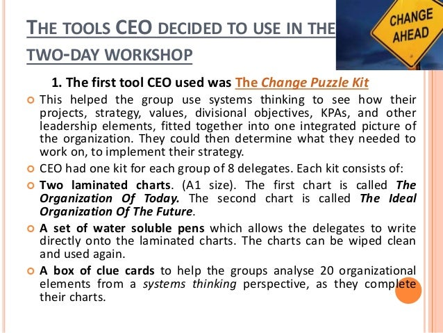 THE TOOLS CEO DECIDED TO USE IN THE TWO-DAY WORKSHOP 1. The first tool CEO used was The Change Puzzle Kit  This helped th...