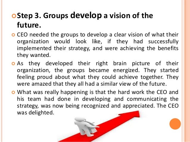  Step 4. Groups complete The Ideal Organization of the Future charts.  4.1 Instructions and activity:  CEO then asked t...