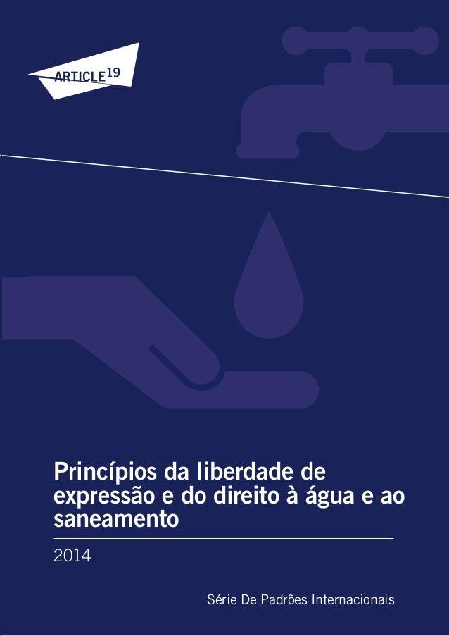 2014 Série De Padrões Internacionais Princípios da liberdade de expressão e do direito à água e ao saneamento