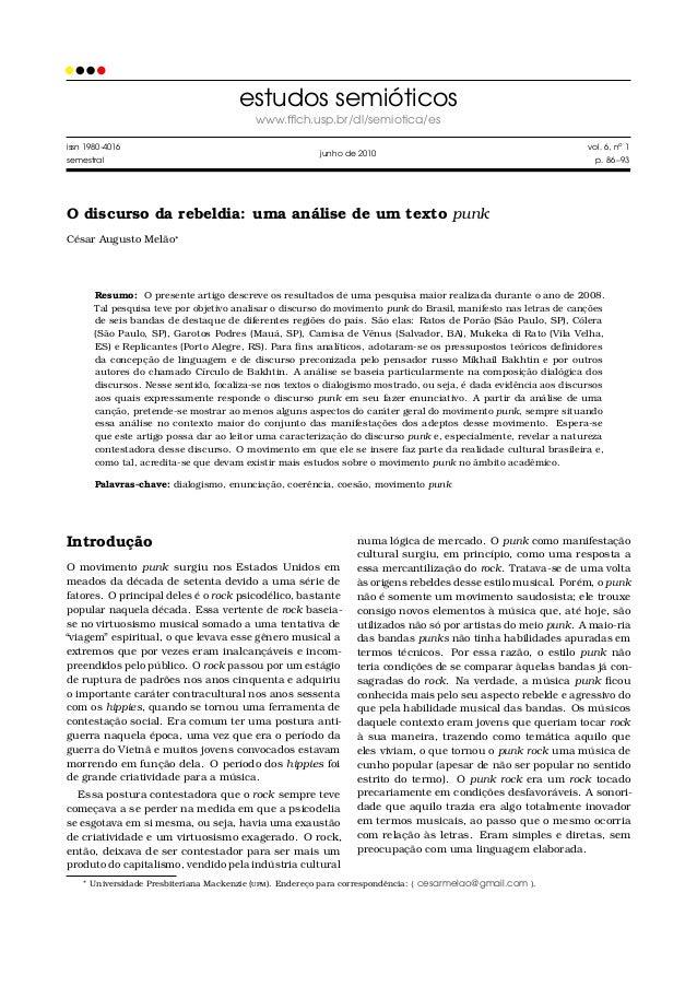 estudos semióticos www.fflch.usp.br/dl/semiotica/es issn 1980-4016 semestral  vol. 6, no 1  junho de 2010  p. 86 –93  O dis...