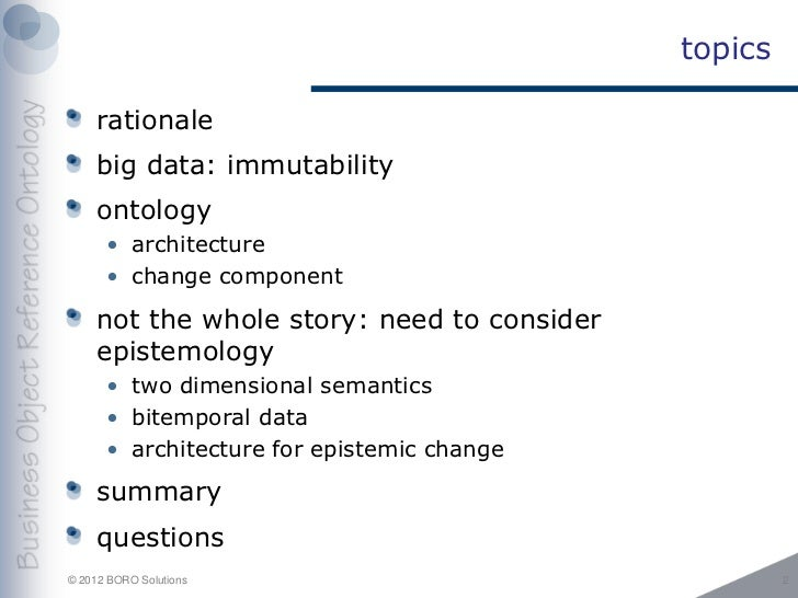 ontology meets big data: immutability