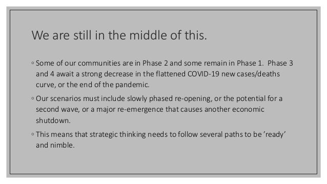 We are still in the middle of this. ◦ Some of our communities are in Phase 2 and some remain in Phase 1. Phase 3 and 4 awa...
