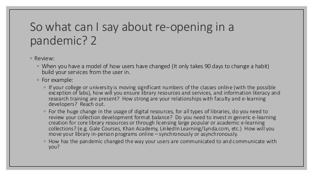 So what can I say about re-opening in a pandemic? 2 ◦ Review: ◦ When you have a model of how users have changed (It only t...