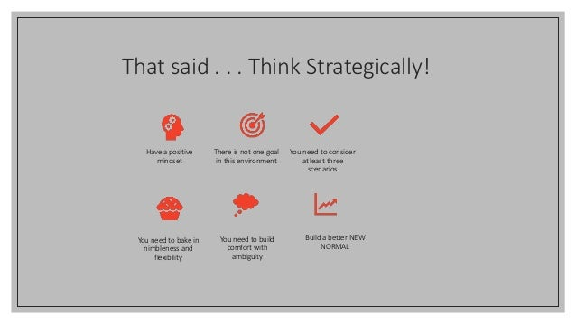 That said . . . Think Strategically! Have a positive mindset There is not one goal in this environment You need to conside...