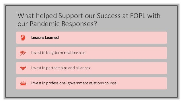 What helped Support our Success at FOPL with our Pandemic Responses? Lessons Learned Invest in long-term relationships Inv...