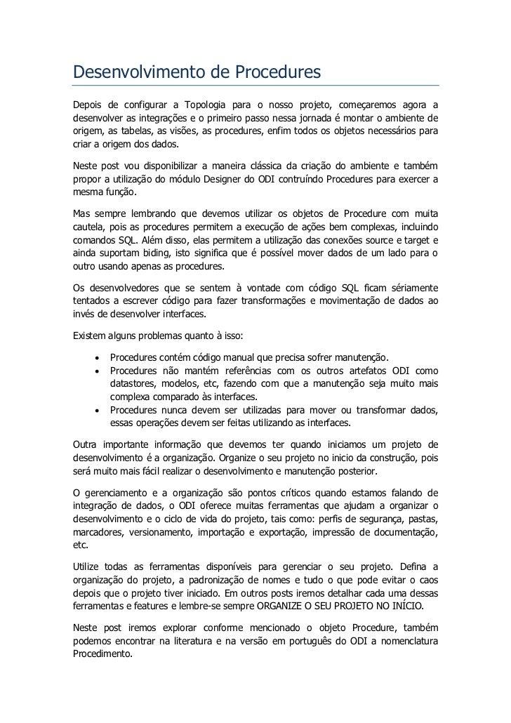 ODI Tutorial - Desenvolvendo Procedures Slide 2