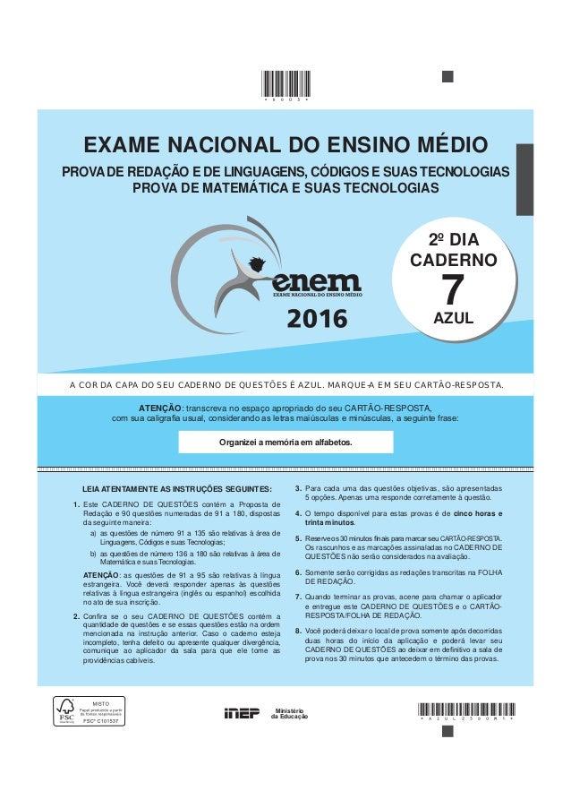 70c73632a96 Encceja 2016 - Caderno Azul Prova Redação