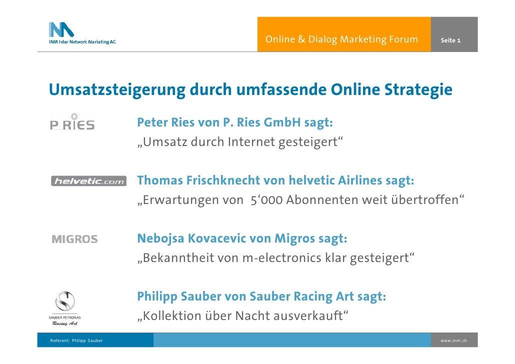 Online  Dialog Marketing Forum   Seite 1     Umsatzsteigerung durch umfassende Online Strategie                           ...