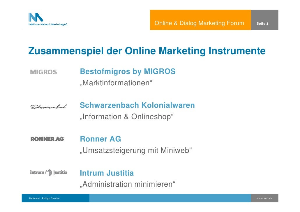 Online  Dialog Marketing Forum   Seite 1     Zusammenspiel der Online Marketing Instrumente                            Bes...