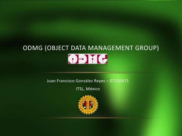Juan Francisco González Reyes – 07230471<br />ITSL, México<br />ODMG (Object Data Management Group)<br />