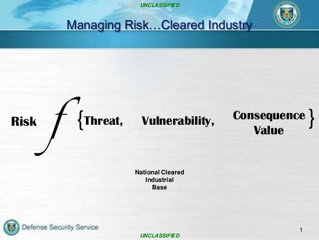 UNCLASSIFIED  Managing Risk…Cleared Industry  f  {Threat,  Vulnerability,  Consequence Value  National Cleared Industrial ...