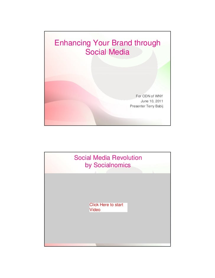 Enhancing Your Brand through        Social Media                                   For ODN of WNY                         ...