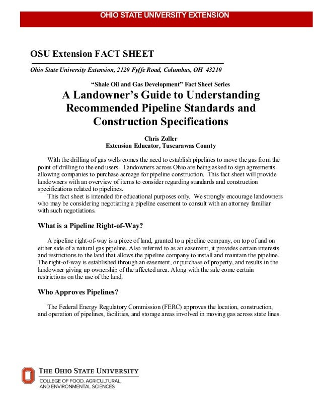 A landowner s guide to understanding recommended pipeline for Home construction specification sheet