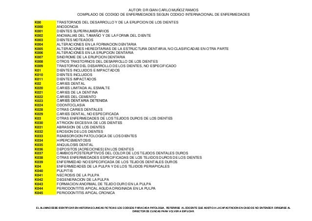 AUTOR: DR GIAN CARLO MUÑOZ RAMOS COMPILADO DE CODIGO DE ENFERMEDADES SEGUN CODIGO INTERNACIONAL DE ENFERMEDADES K00 TRASTO...
