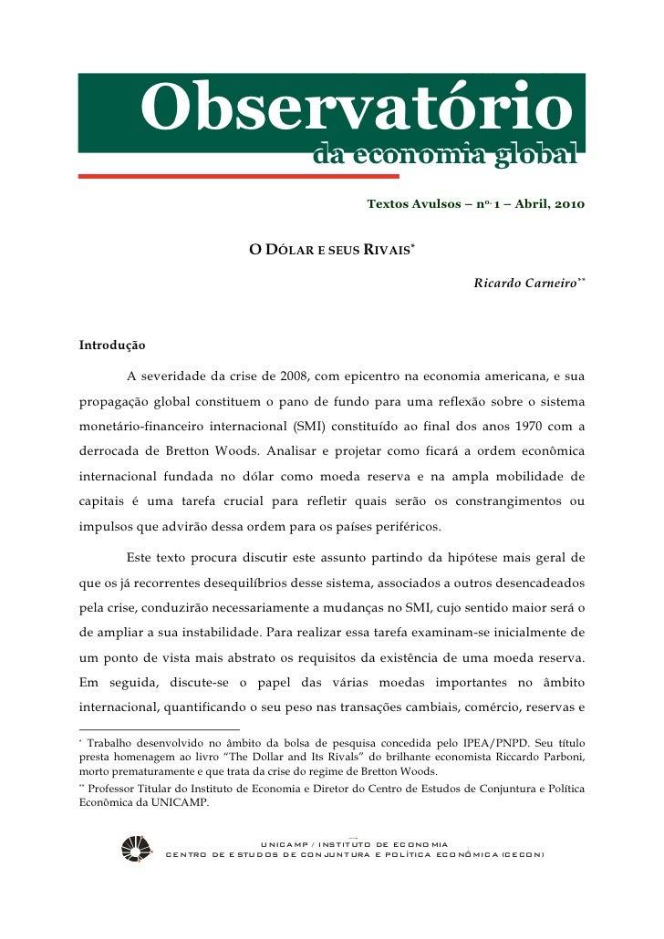 Observatório da Economia Global – no. 1 – Abril, 2010           Observatório                                             d...