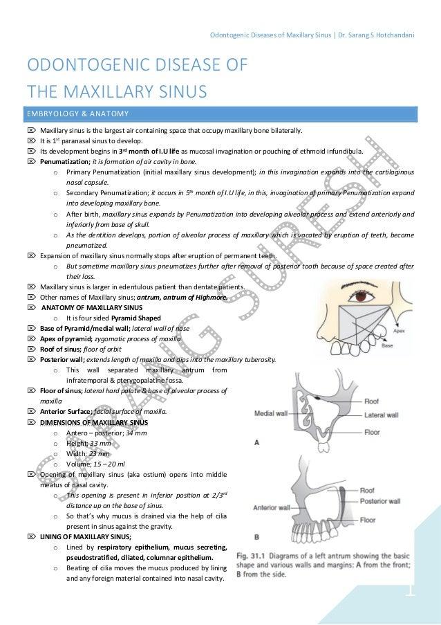 Odontogenic Disease of Maxillary Sinus (Study Notes: Oral & Maxillofa…