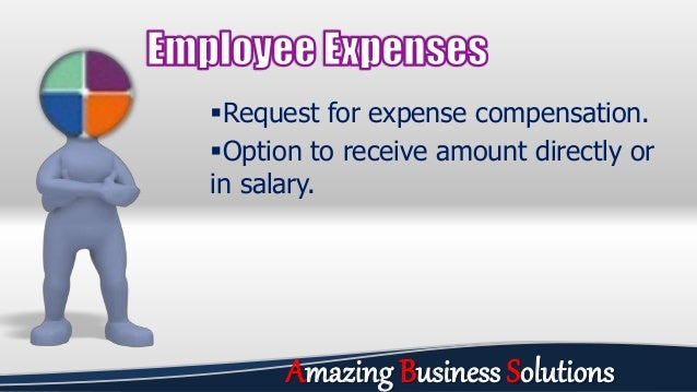 Request for expense compensation. Option to receive amount directly or in salary. Amazing Business Solutions