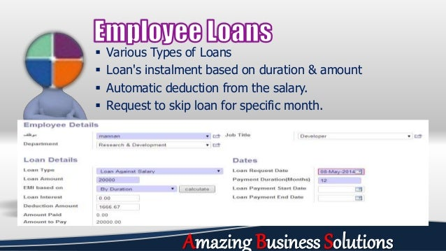  Various Types of Loans  Loan's instalment based on duration & amount  Automatic deduction from the salary.  Request t...