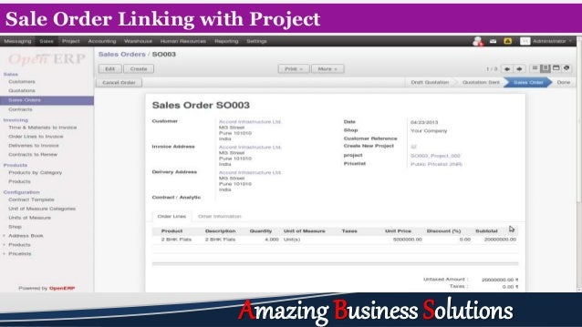 Sale Order Linking with Project Amazing Business Solutions